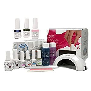 Gelish Mini Harmony Complete Starter LED Gel Nail Polish Kit – Includes 5 Colors