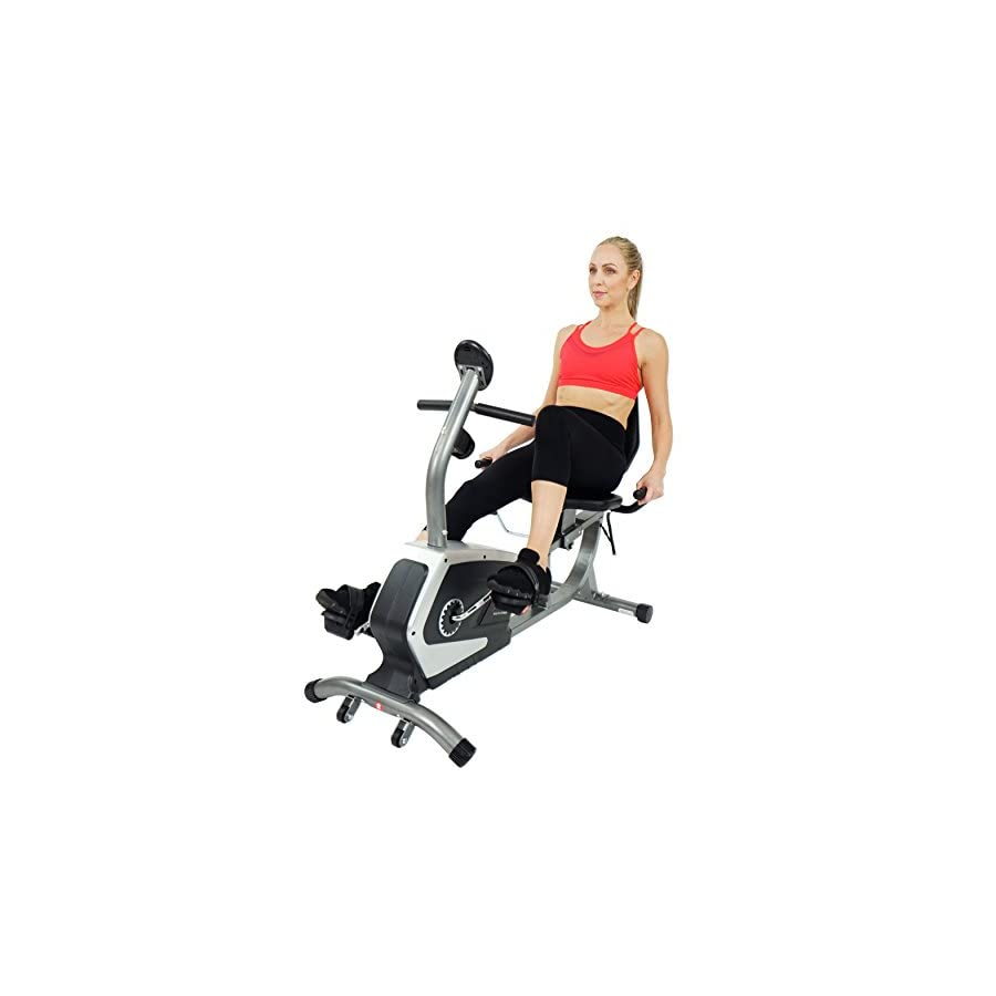 Sunny Health & Fitness Magnetic Recumbent Bike Exercise Bike, 300lb Capacity, Easy Adjustable Seat, Monitor, Pulse Rate Monitoring SF RB4616
