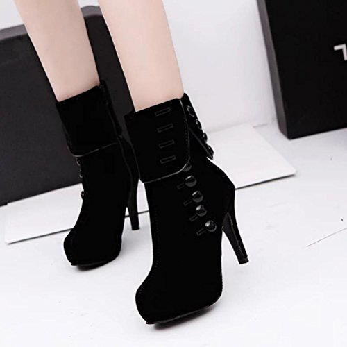 Zapatos interiores, Amlaiworld Botas de tacón alto Botines de plataforma Botas de invierno Negro