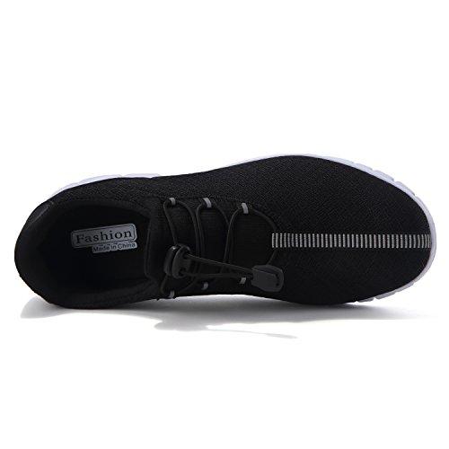 Feetmat Mens Löparskor Lätta Andas Mesh Atletiska Idrotts Sneakers Svart