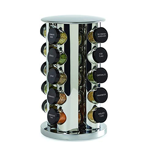 (TSR Revolving Spice Rack Tower, Stainless Steel Rotating Jar Rack, Tower Spice Rack, Counter Top Organizer Spice Rack with E-Book)