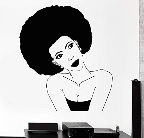 Melissalove Afro Hairstyle Vinyl Wall Stickers Black African Woman Hair Stylist Salon Beauty Sticker Personality Design Wallpaper SA252 (Black) (Best Hairstyle For Female)