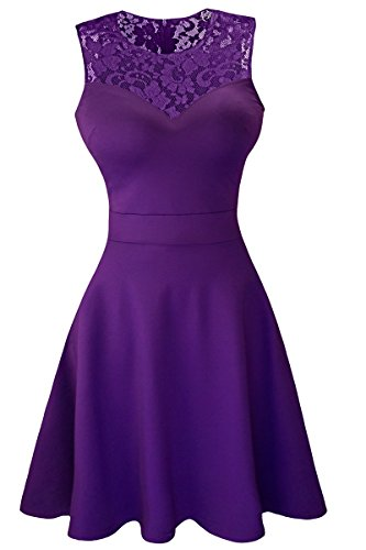 Sylvestidoso Women's A-Line Sleeveless Pleated Little Purple Cocktail Party Dress with Floral Lace (M, Purple)