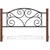 Doral Headboard with Dark Walnut Wood Posts and Metal Grill, Matte Black Finish, Twin
