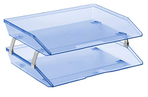 - Acrimet Facility 2 Tier Letter Tray Plastic Desktop File Organizer (Clear Blue Color)
