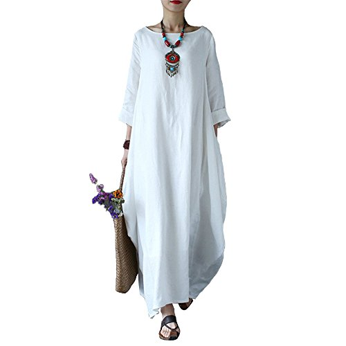 Celmia Women's 3/4 Sleeve Round Neck Solid Loose Long Maxi Dress Cotton Gown With Side Pockets Off White 2XL (Caftan White)