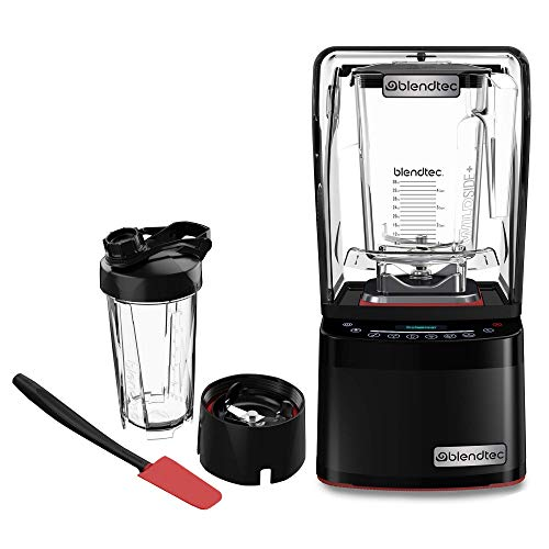 Blendtec Professional 800 Blender-WildSide+ Jar (90 oz), Blendtec GO Cup (34 oz) and Spoonula Spatula BUNDLE - Sealed Sound Enclosure - Professional-Grade Power - 11-Speed - Self-Cleaning - Black