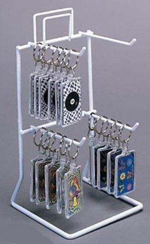 One 4 Peg Hook Counter Top Key Chain & Small Items Display Rack in White