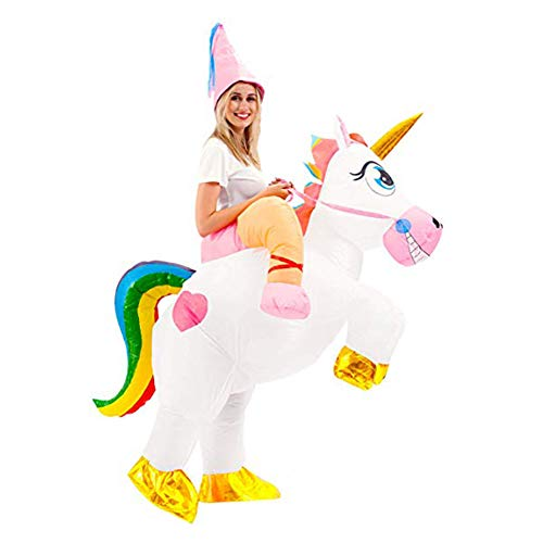 Inflatable Unicorn Costume, Inflatable Riding Unicorn Suit for Halloween Cosplay Christmas Party (Adult Kid)