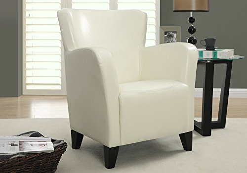 Monarch Specialties Upholstered Club Chair Accent Chair, Leather Look, Ivory Review