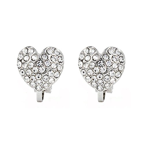 Round Pave Set Heart Earrings (Rhodium Plated Pave Crystal Heart Clip On Earrings(10mm))