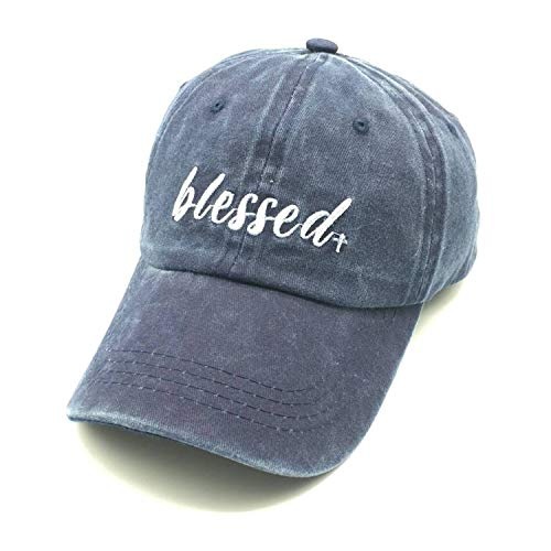 505103f4d3d4f Waldeal Embroidered Adult Unisex Blessed Washed Till Dad Hats Adjustable  Mama Grateful Thankful Baseball Cap Navy