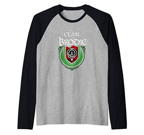 Clan Brodie Surname Scottish Clan Tartan Shield Badge Raglan Baseball Tee ()