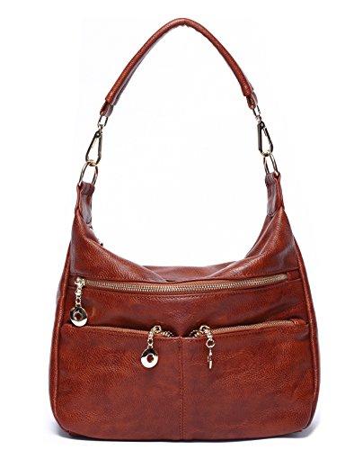 Small Pocket Hobo (Ali Victory Women Hobo Shoulder Bag PU Leather Top-handle Tote Ladies Bags (Brown))