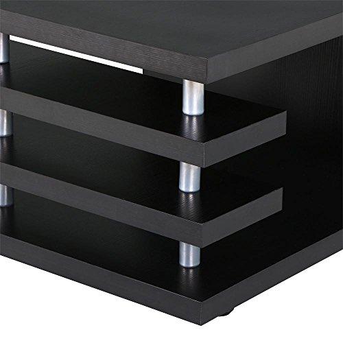 Yaheetech Modern Black Wood Coffee Table Iron Tube Legs