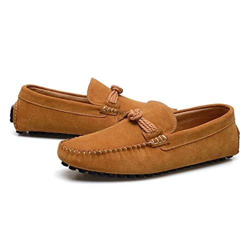 Baymate Comodidad Mocasines Piso Zapatos de Conducción Para Hombres Luz Marrón