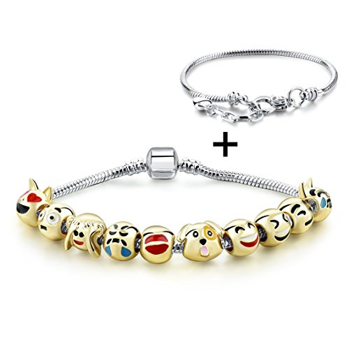 Gold Plated Emoticon Beaded Charms Bracelet with 10pcs Original Design Enamel Face Beads (Animal)