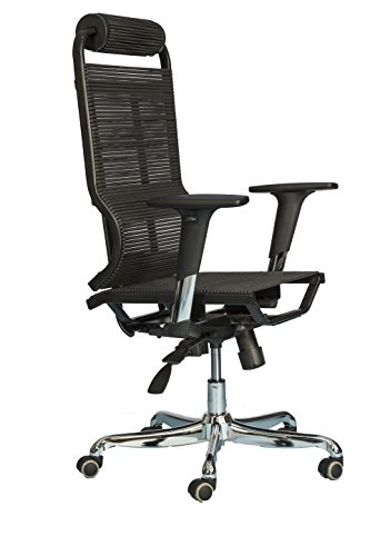 Ergonomic Office Chair High Back – Breathable Comfortable Bungee Seat Mesh & Leather Alternative Executive Computer Desk Task Chair w/ Adjustable Arms, Reclining Ergo Rolling Black Swivel (Bungee Arms)