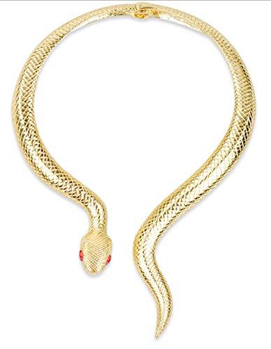 Gold Tone Snake Necklace - Mr.Duca Women Gold Tone Snake Necklace Curved Bar Design Adjustable Neck Collar Choker (Gold,Red Eyes)