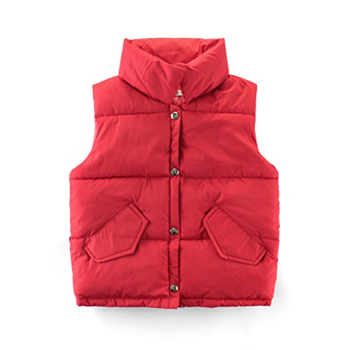 Mallimoda Boys Girls Lightweight Down Vest Puffer Jacket High Neck Waistcoat Red 3-4 Years