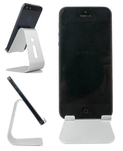 Price comparison product image Metal Desk Stand / Holder for Blackview Smartphones: A5, A8 Max, Acme, Alife P1 Pro, Arrow, Breeze, BV2000, BV2000s, BV5000, DM550, E7, Heatwave, Omega, Omega Pro, R7, Ultra, V3 & Zeta - by DURAGADGET