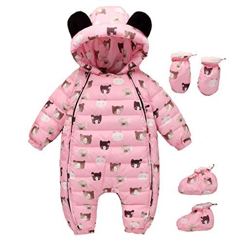 (Sunhusing Baby Long-Sleeve Hooded Cartoon Deer Print Bear Ears Hooded Hooded Jumpsuit+Gloves+Socks Three-Piece Suit)