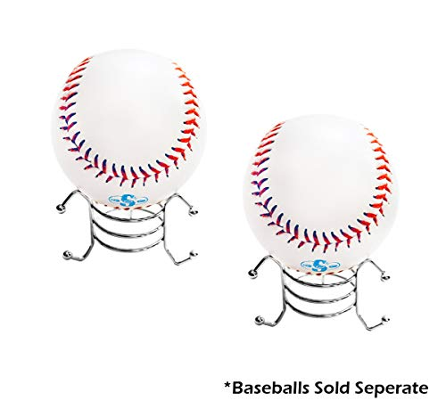 (Baseball Holders Metal Display Stands All Purpose (Pack of 2) for Diamond Paperweight, Collectibles, Rocks, Balls, or Crystals Holder with Grooved Legs (1.5