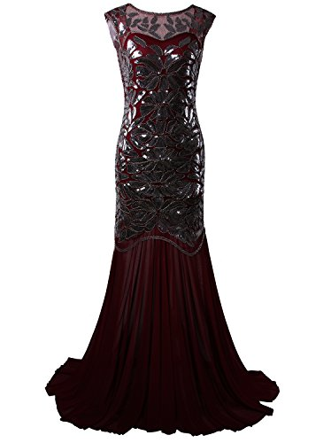 Vijiv 1920s Long Prom Dresses Sequins Beaded Art Deco Evening Party