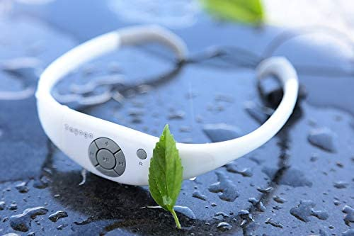 Tayogo Waterproof MP3 Player, IPX8 8GB Swimming Headphones with Shuffle Feature - White