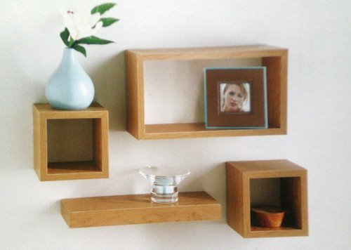 Set of 4 Floating Wall Storage Display Book Cubes Shelves Stand Shelf (Oak  Effect)