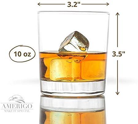 Amerigo Cristal Whisky Set De 4 En Caja De Regalo De Lujo - Base Pesada Vasos De Whisky 12oz - Whisky De Regalo para Los Hombres - Vasos De Cristal - Regalo del Día del Padre - Set De Bar En Casa