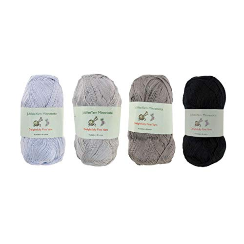 Lace Weight Tencel Yarn - Delightfully Fine - 60% Bamboo 40% Tencel Yarn - 4 Skeins - Shades of Grey Assortment