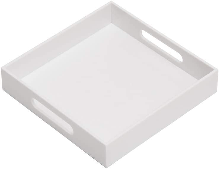 Glossy White Sturdy Acrylic Serving Tray with Handles-10x10Inch-Serving Coffee,Appetizer,Breakfast,Butler-Kitchen Countertop Tray-Makeup Drawer Organizer-Vanity Table Tray-Ottoman Tray-Decorative Tray