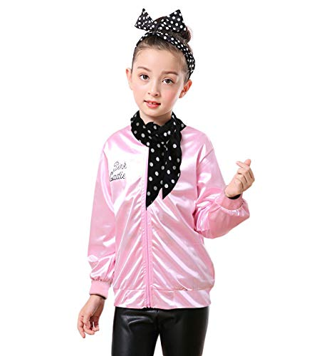 Dancing Stone 1950s Girls' Grease Pink Ladies Jacket Halloween Costume (L, Pink)