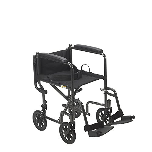 Drive Medical TR37E-SV Lightweight Steel Transport Wheelchair, Fixed Full Arms,17-Inch Seat
