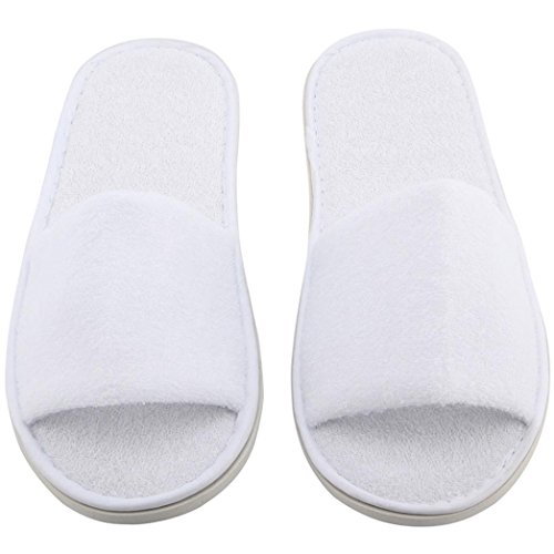 YJYdada 5 Pairs Spa Hotel Guest Slippers Open Toe Towelling Disposable Terry - Havainas Shop