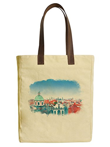 Old Prague Skyline View Beige Printed Canvas Tote Bags Leather Handles WAS_30 (Prague Leather Handbag)