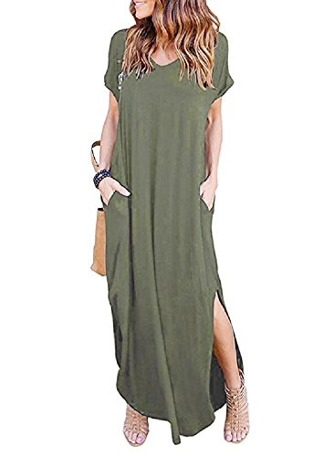 PRIMODA Women's Casual Sexy Side Split V Neck Loose Pocket T-Shirt Long Dress Short Sleeve Maxi Dress£¨Army Green,M ()