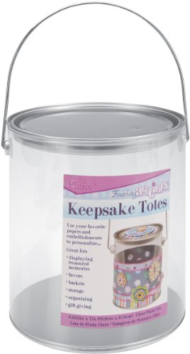 Darice Keepsake Totes Clear Plastic Paint Can - Personalize with Papers and Embellishments - Great for Gift Baskets, Storage, Centerpieces, Displays - Silver Metallic Top, Bottom and Handle, 6-5/8