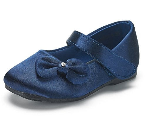 Adorable Mary Jane Side Bow Buckle Strap Ballerina Flat (Toddler/Little Girl) New Navy Satin Size 10 ()