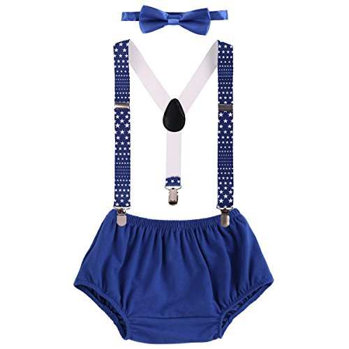 - Child Baby Boys Adjustable Elastic Clip Y Back Suspenders Bowtie Outfit First Birthday Cake Smash Bloomers Clothes set Royal Blue
