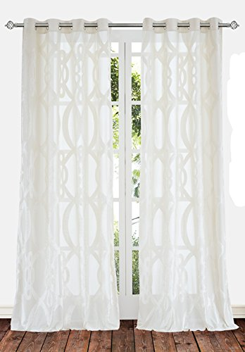 Ifblue 2 Panels Grommet Top Sheerness Velvet Cutting Sheer Window Light Filtering Geometric Pattern Curtains Drapes for Bedroom Kids Living Room (52″X72″, White Cream)