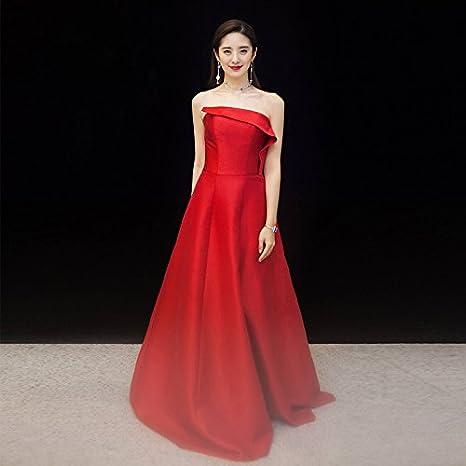 daf567eaf357 JKJHAH Sposa Vestito da Sera Rosso Banchetto Abito da Sera Abito Lungo Donna   Amazon.it  Sport e tempo libero