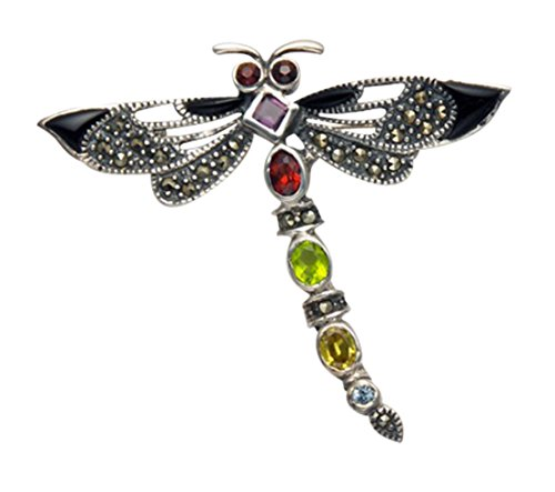 Wild Things Sterling Silver Dragonfly Pin w/Marcasite & Multi Color Faceted Crystals & Enamel