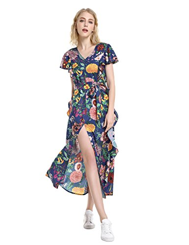 ZAN.STYLE Womens Floral Print Flutter Sleeve Ruffle Maxi Dress with Tie Waist