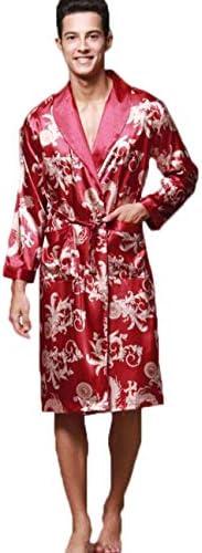 メンズナイトガウン長袖カップルローブメンズバスローブシルクパジャマメンズロングローブホームサービス (Color : Red, Size : XL)