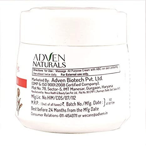 Adven Naturals All Purpose Cream With Aloevera, Berberies And Calendula,  Which Suits Every Type Of Skin In All Weather Conditions 100 G (Pack Of 2)