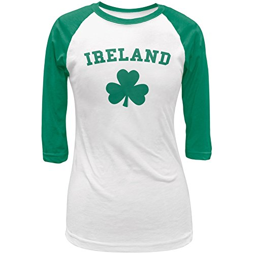 Old Glory Ireland Shamrock Green Juniors Raglan T-Shirt - ()
