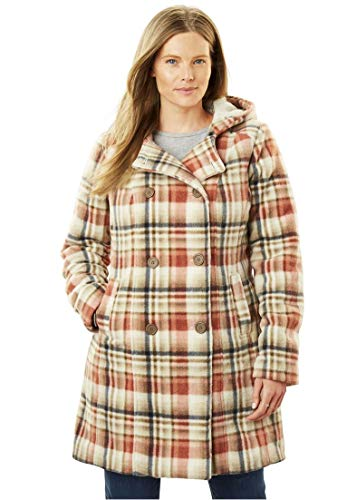 Women's Plus Size Hooded Fleece Pea Coat