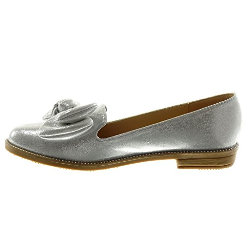 2 Mode on 5 Talon Argent Clouté Chaussure Noeud Cm Bloc Slip Brillant Papillon Femme Mocassin Angkorly q74xawSx